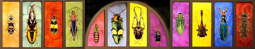 stag beetles painted on glass